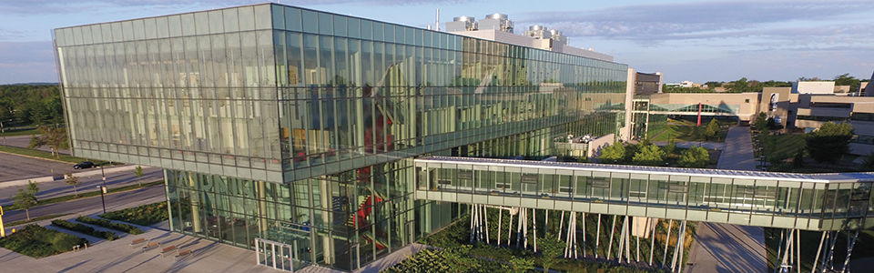 Brock University campus: modern glass building.