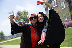 Dalhousie University graduate student taking selfie with mother