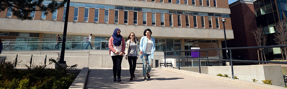 Wilfrid Laurier University-students outside library building