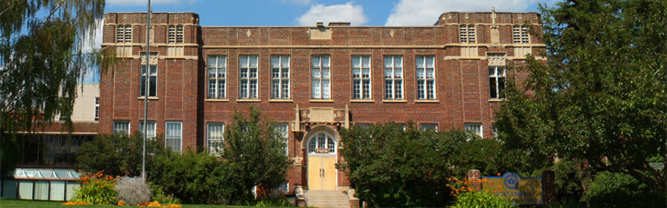 Concordia University College of Alberta campus: front view of brick building