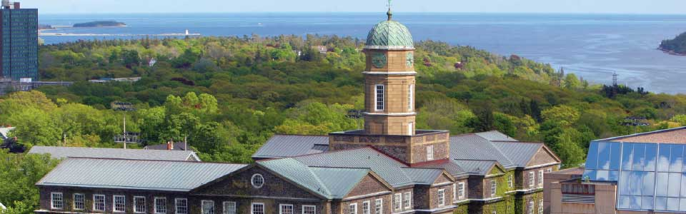 Dalhousie University campus: building rooftops with ocean view