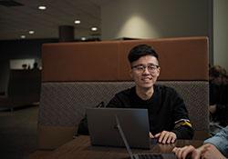 MSVU student at his computer