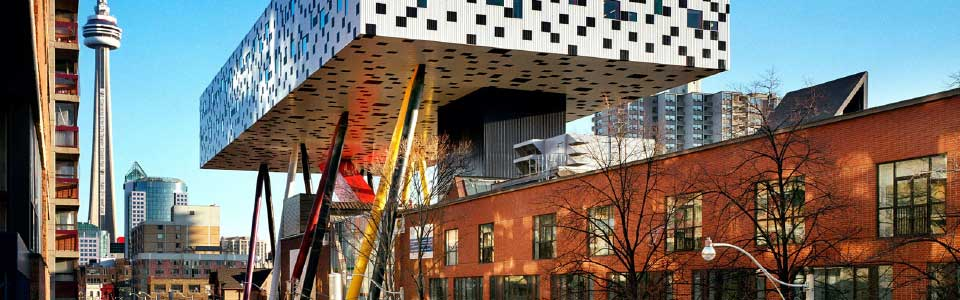 OCAD University campus: view of Toronto CN Tower and modern building.