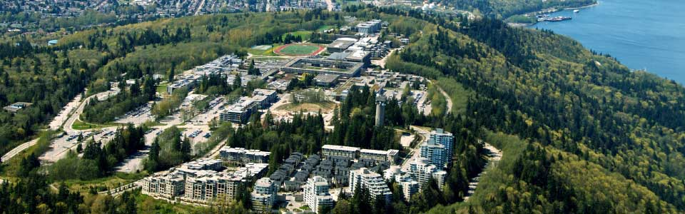 Simon Fraser University campus: aerial view of grounds.