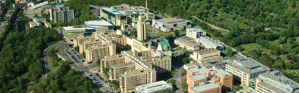 L'Université de Montréal : vue aérienne du campus.