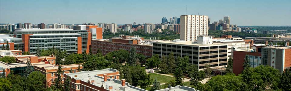 University of Alberta campus: aerial view of buildings and trees.
