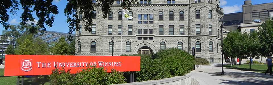 The University of Winnipeg campus: front of stone building.