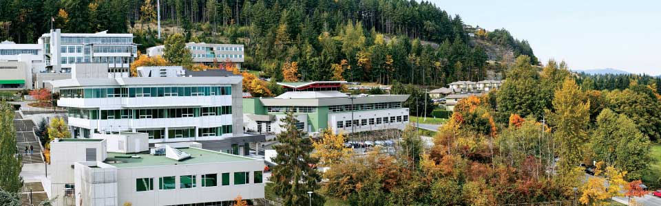Vancouver Island University campus: aerial view.
